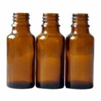 Braunglasflasche 20 ml DIN 18 ohne Verschluss