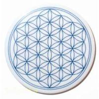 Blume des Lebens - Porzellanuntersetzer blau