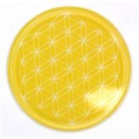 Blume des Lebens - Untersetzer 3. Chakra gelb