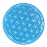 Blume des Lebens - Untersetzer 5. Chakra hellblau