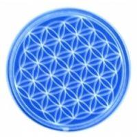 Blume des Lebens - Untersetzer 6. Chakra blau