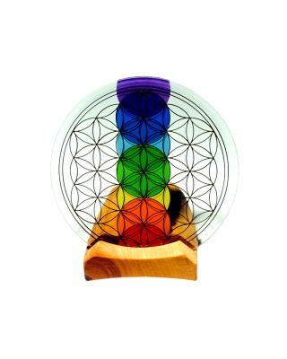 Blume des Lebens - Teelicht Holz mit Kristallglas