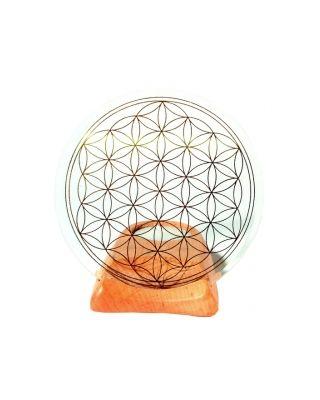 Blume des Lebens - Teelicht Holz mit Glas klar