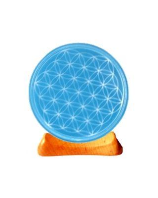 Blume des Lebens - Teelicht 5. Chakra hellblau