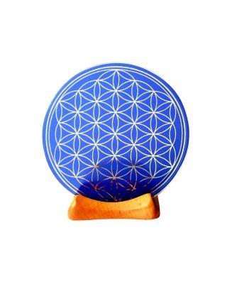 Blume des Lebens - Teelicht 6. Chakra blau