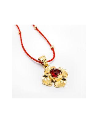Anhänger 1. Chakra mit Granat - Gold