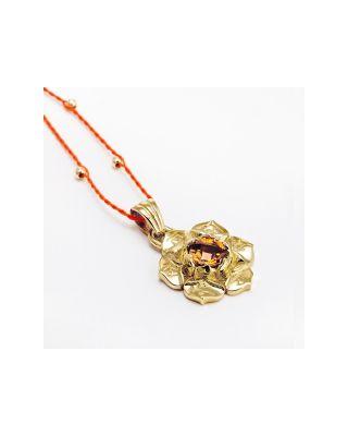 Anhänger 2. Chakra mit Orange Zitrin - Gold