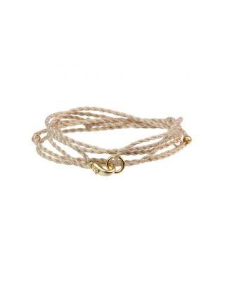 Halskette aus Baumwollbändern - Beige / SILBER