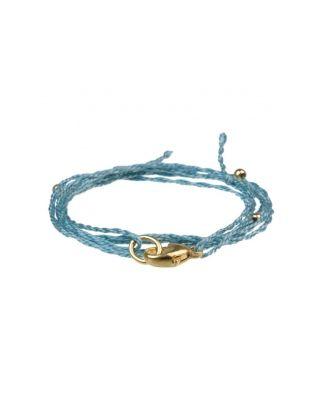 Halskette aus Baumwollbändern - Hellblau / SILBER