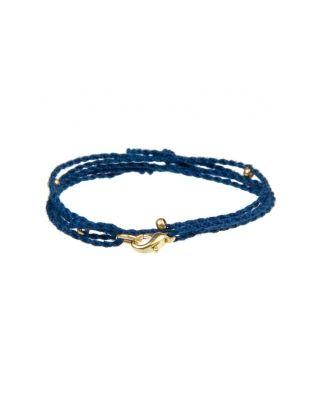 Halskette aus Baumwollbändern - Dunkelblau SILBER