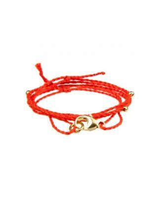 Halskette aus Baumwollbändern - Orange / GOLD