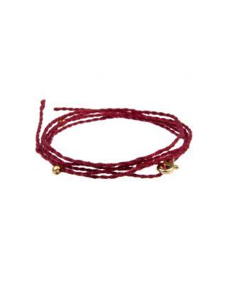Halskette aus Baumwollbändern - Rot / GOLD