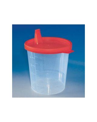 Urinbecher 125 ml mit Schnappdeckel rot (100 Stück)